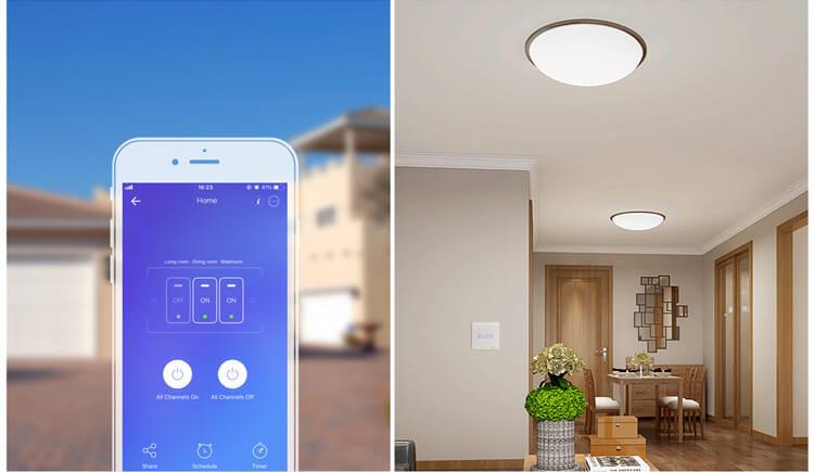 Dotykowy włącznik światła WiFi + RF 433 Sonoff T1 EU TX (2-kanałowy)