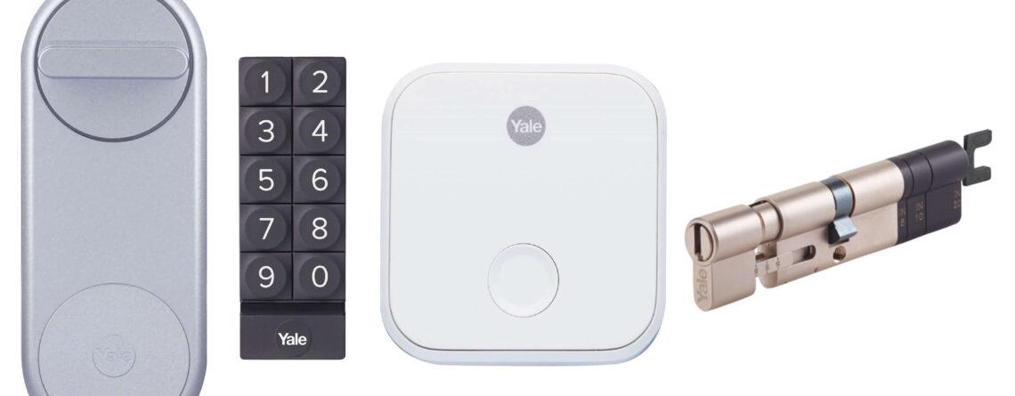 Zestaw inteligentny zamek Yale Linus® Smart Lock srebrny z mostkiem centralnym i klawiaturą i wkładką